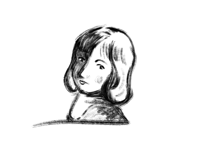 Woman black and white drawing illustration woman