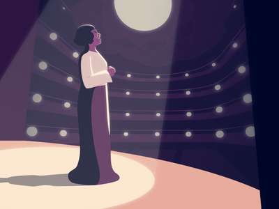 Marian at the Met Opera stage character design flat 2d african american opera lighting black history singer illustration