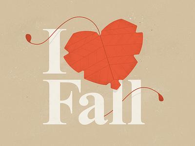I Love Fall illustrator text stems leaves orange texture typography autumn photoshop illustration fall leaf