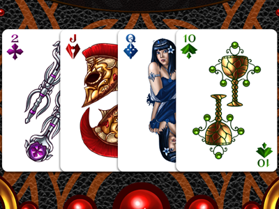 Full Deck of Fantasy Playing Cards  goblet spade red full deck fantasy playing cards nelutu decean photoshop digital painting illustration sword helmet king queen clubs diamonds