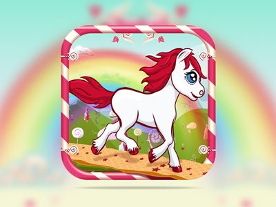 Candy Pony Run Game Graphic Design candy pony game design nelutu ui gui icon logo photoshop ipad iphone app appcycles sweet colorfull cake chocolate fantasy illustration rainbow