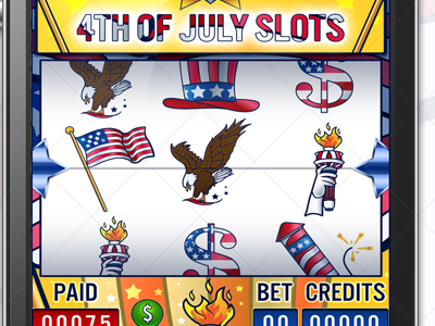4 july slots game design  4 july game slots design nelutu decean photoshop interface gui ui
