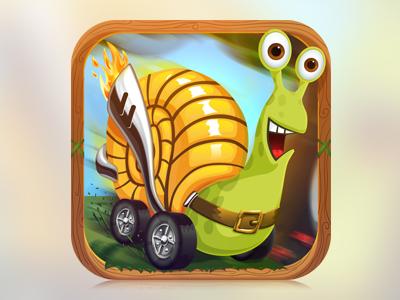 A Snail on Wheels App Icon snail on wheels turbo app icon nelutu decean photoshop