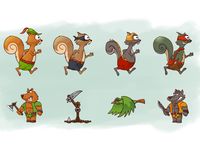 Squirrel hood game characters