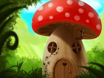 Mushroom House Digital Painting mushroom house digital painting nelutu photoshop decean landscape illustration