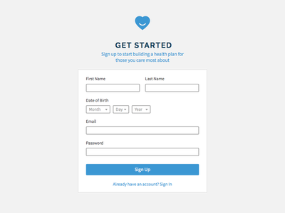 Checkup Signup healthcare checkup form app web ui signup