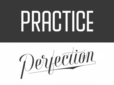 Practice Perfection lettering type typography weekly words