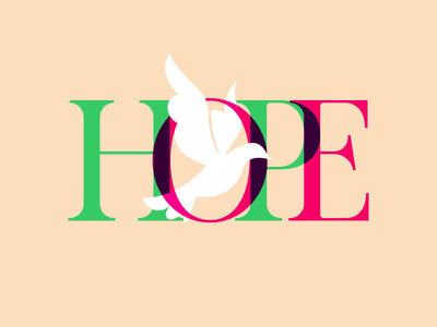 Hope joy love peace god christmas lettering bird dove hope