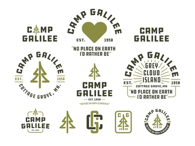 Camp Galilee Elements logo heart monogram pine tree badge branding identity lockup jesus god summer minnesota apostolic church galilee camp