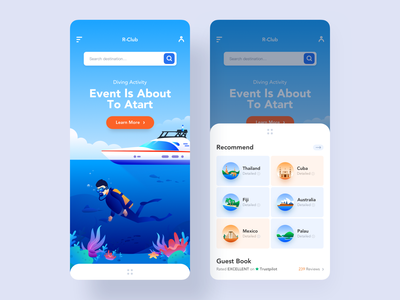 Diving Club APP sports country fish sea diving ferry yacht city blue app ui illustration