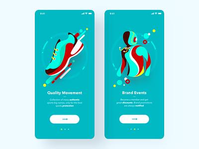 Sports Brand APP discount shopping sweatshirt clothes health shoe sports shoes sports launch screens ios app ui illustration