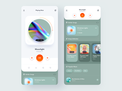 Music Player App mobile music player iphone shadow orange ios clean recommend song player music green app ui