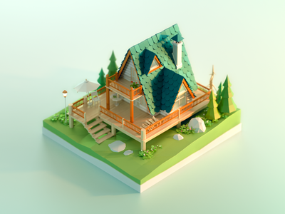 Forest Chalet lowpoly green plant scenes 3d model building wood trees house chalet forest 3d c4d