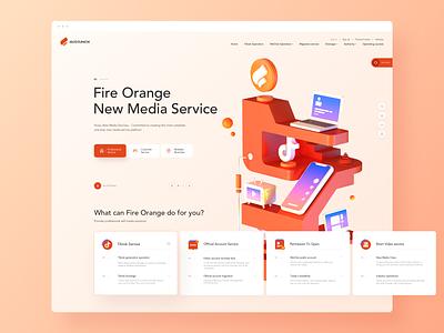 Fire Orange new media company business c4d 3d ui web design website web