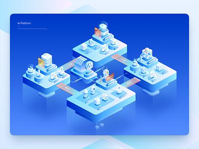 Ai Platform Illustration platform process banner business technology 2.5d web blue illustration ui