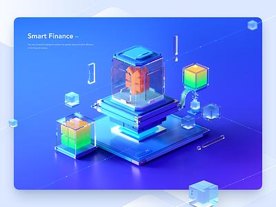 Smart Finance web blue ai system service intelligent finance technology illustration c4d banner 3d ui