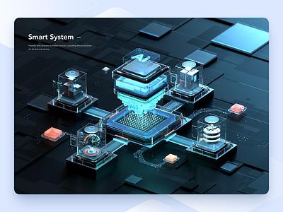 Smart System data terminal electronic server finance cpu intelligent circuit chip business technology ai web c4d 3d ui