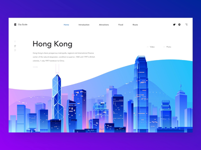 City Guide UI landmark traffic web interface house building hong kong travel blue menu interaction recommended guide tourism city life illustration ui