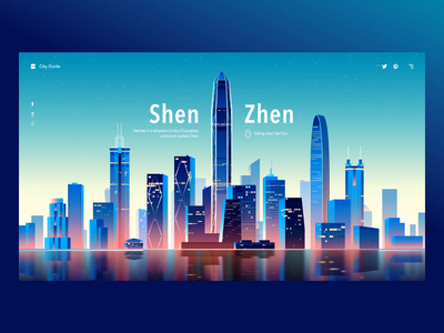 City Guide UI shenzhen web ui travel traffic tourism recommended life landmark interface interaction illustration house guide city building blue