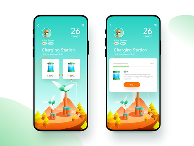 Green Island - Charging Station phone ui upgrade battery windmill generator game app illustration