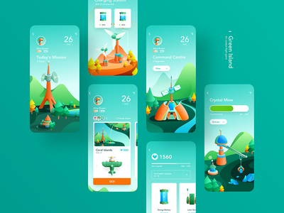Green Island Game App fighter game crystal fighting aircraft building windmill lake mountain antenna phone green app ui illustration