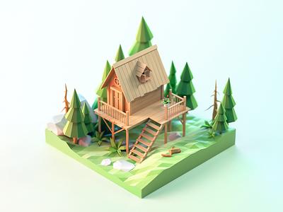 Chalet pine forest house c4d 3d