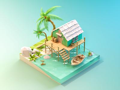 Seaside cottage modeling seaside stone cabin house wood landscape water sea tree coconut low poly 3d c4d