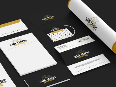 Hair Tapers Stationery hipster tube envelope letterhead mockup branding taper logo fade brush cut barber logo barber