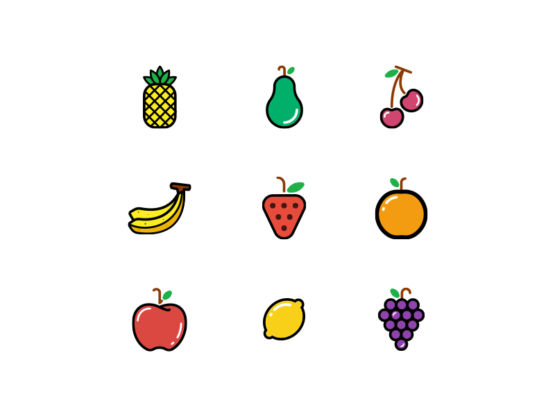 The Frooti Iconset freebie grapes lemon apple orange strawberry banana cherry avocado pineapple icons frooti