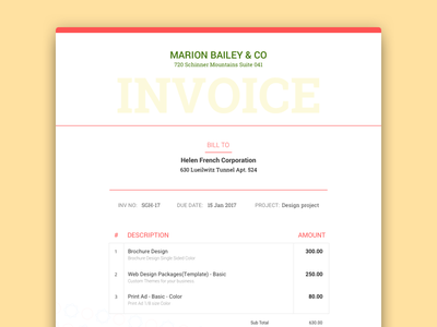 Designer Invoice 2 get paid invoice khuzema minimal money pay simple typo typography