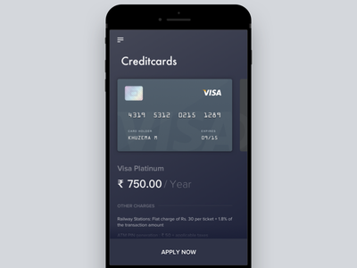 Mobile Banking - Cards List credit dark debit interface khuzema minimal card security simplicity ui usability ux