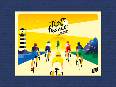 OFFICIAL POSTER - TOUR DE FRANCE 2021 montains headlight vintage 2021 poster tour de france cycling poster art loop speed race cyclist branding design illustrator vector identity illustration france brittany