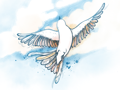 Fly high illustration digital uplifting flying feather blue blue bird bird ipad pro procreate