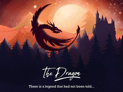 The Dragon hand drawn illustrated digitally castle orange moon power music mountains dragon ipad pro procreate