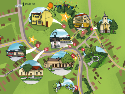 Digitally illustrated map handlettering green village map illustrated hand drawn