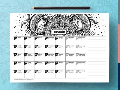 Printable calendar 2019 indesign ipad pro procreate colourable coloring printable hand drawn mandalas mandala