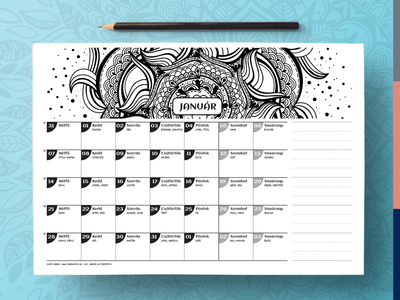 Printable calendar 2019 indesign ipad pro procreate colourable coloring printable hand drawn mandalas mandala
