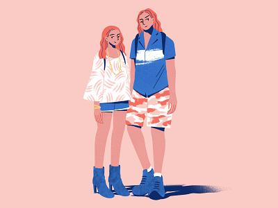 Couple character summer design color flat procreate illustration