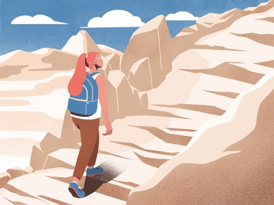 Hiking hiking outdoor climbing character design color procreate flat illustration illustrations