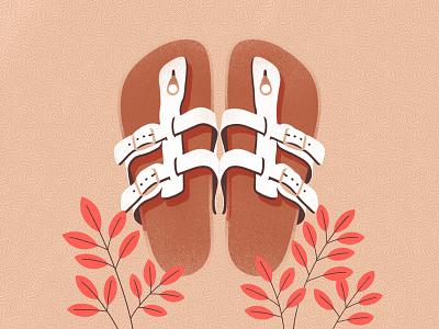 Bilkenstock illustrations summer design color flat procreate illustration