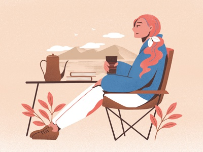 Weekendescape outdoor illustrations hiking character color design procreate flat illustration