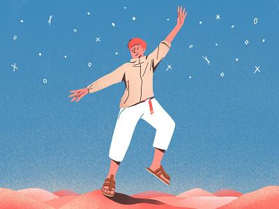 Star outdoor hiking illustrations character color design procreate flat illustration