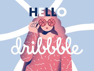 Hello Dribbble! procreate flat dribbble character firstshot debut design illustration