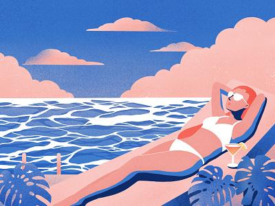 Summer color character summer procreate flat illustration