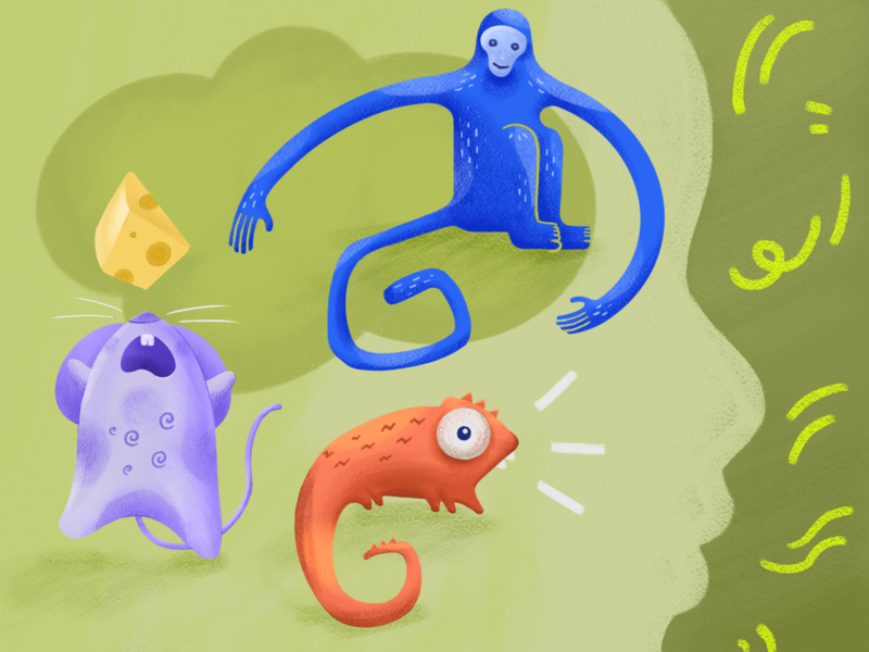 3 animals in our mind monkey mouse lizard meditation resilience animals mind mindfulness educational child kid illustration