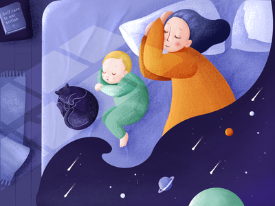 Family sleep family mother mom planets stars galaxy space sleep night parenting parent book self-care bedroom mindfulness baby character child kid illustration