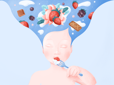 Mindful Eating child taste intuitive mind illustration cream strawberry mindfulness food kid eating