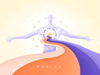 Mudita happyness feelings illustraion mother human figure joy mudita meditation mindfulness