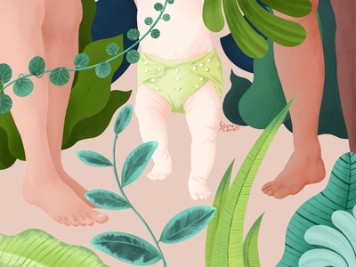 Mindfully  Green Family baby mom leafs jungle walk sustainability green feet footprint family ecology nature plants nappies reusable kid procreate
