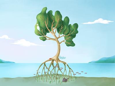 Mangrove illustration procreate clouds sky roots bird sand lake water green environment mangrove fish tree